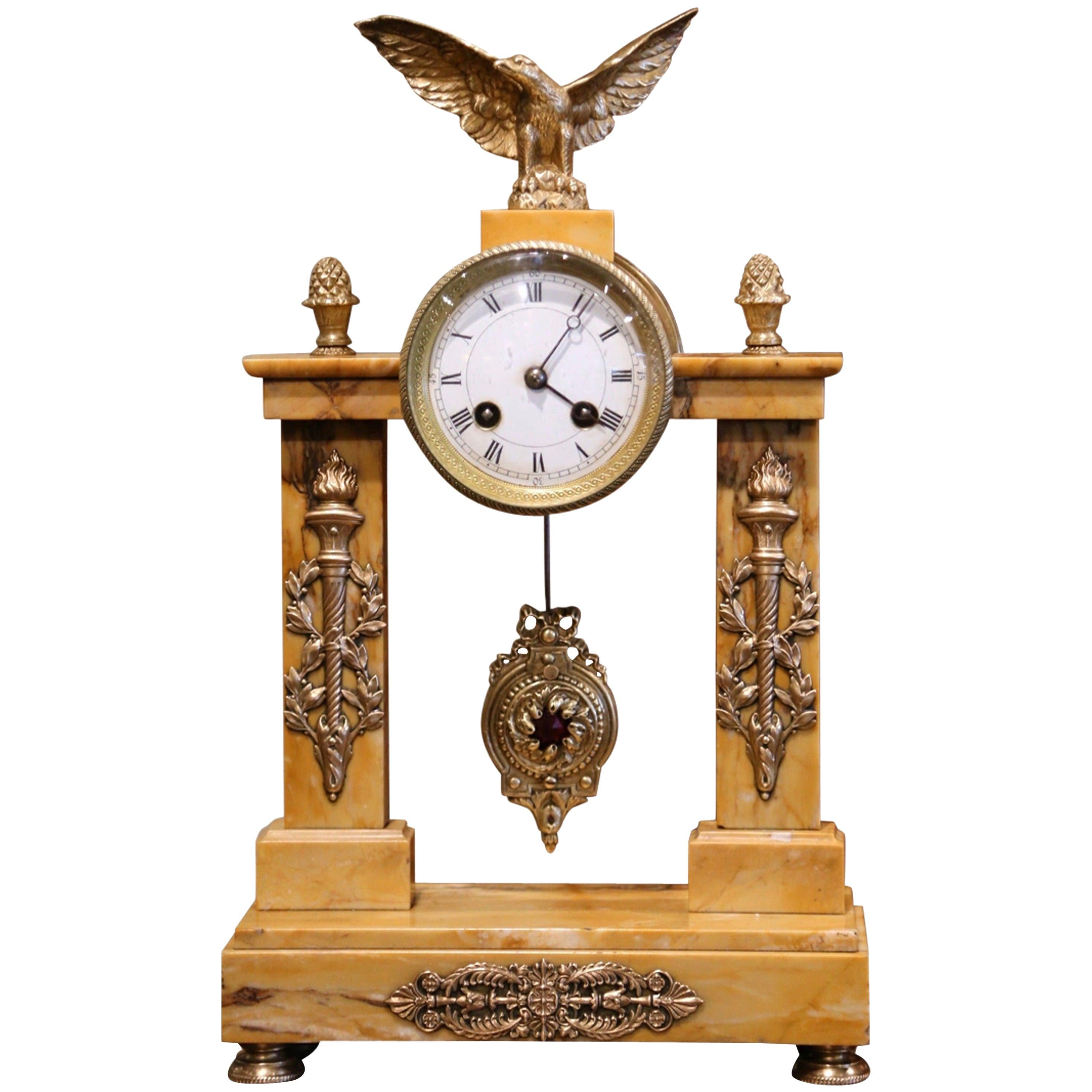 19th Century French Empire Marble and Bronze Mantel Clock from Bonnet & Pottier