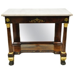 19th Century French Empire Marble-Top Bronze Ormolu Paw Feet Console Hall Table