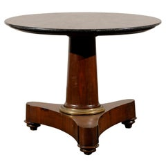 19th Century French Empire Marble Top Center Table with Column Gilt Bronze Mount