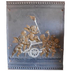 19th Century French Empire Napoleon III Cast Iron Panel with Cherubs