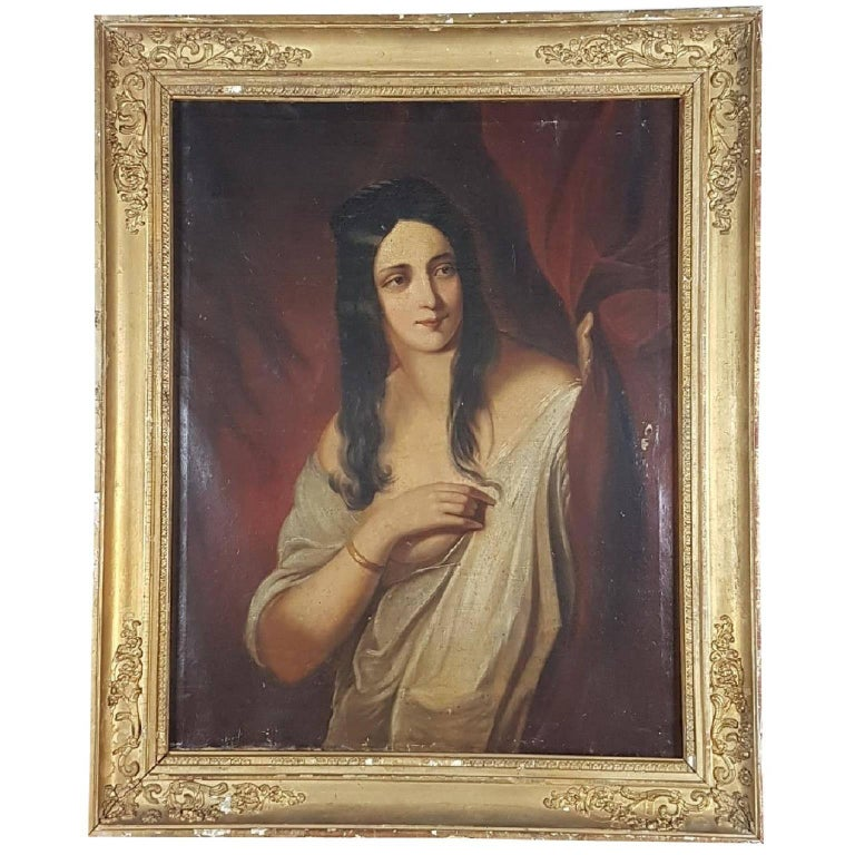 Late 19th Early 20th Century French Oil Painting Gilt Frame Portrait of Woman For Sale