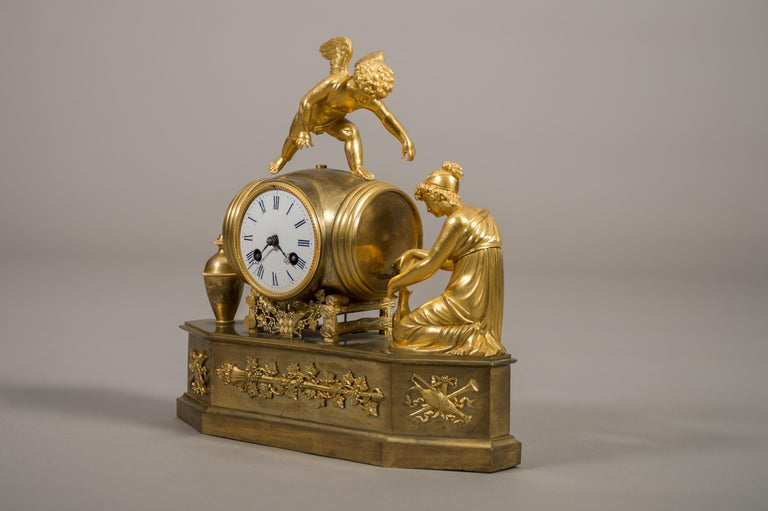 Gilt Early 19th Century French Empire Ormolu Mantel Clock