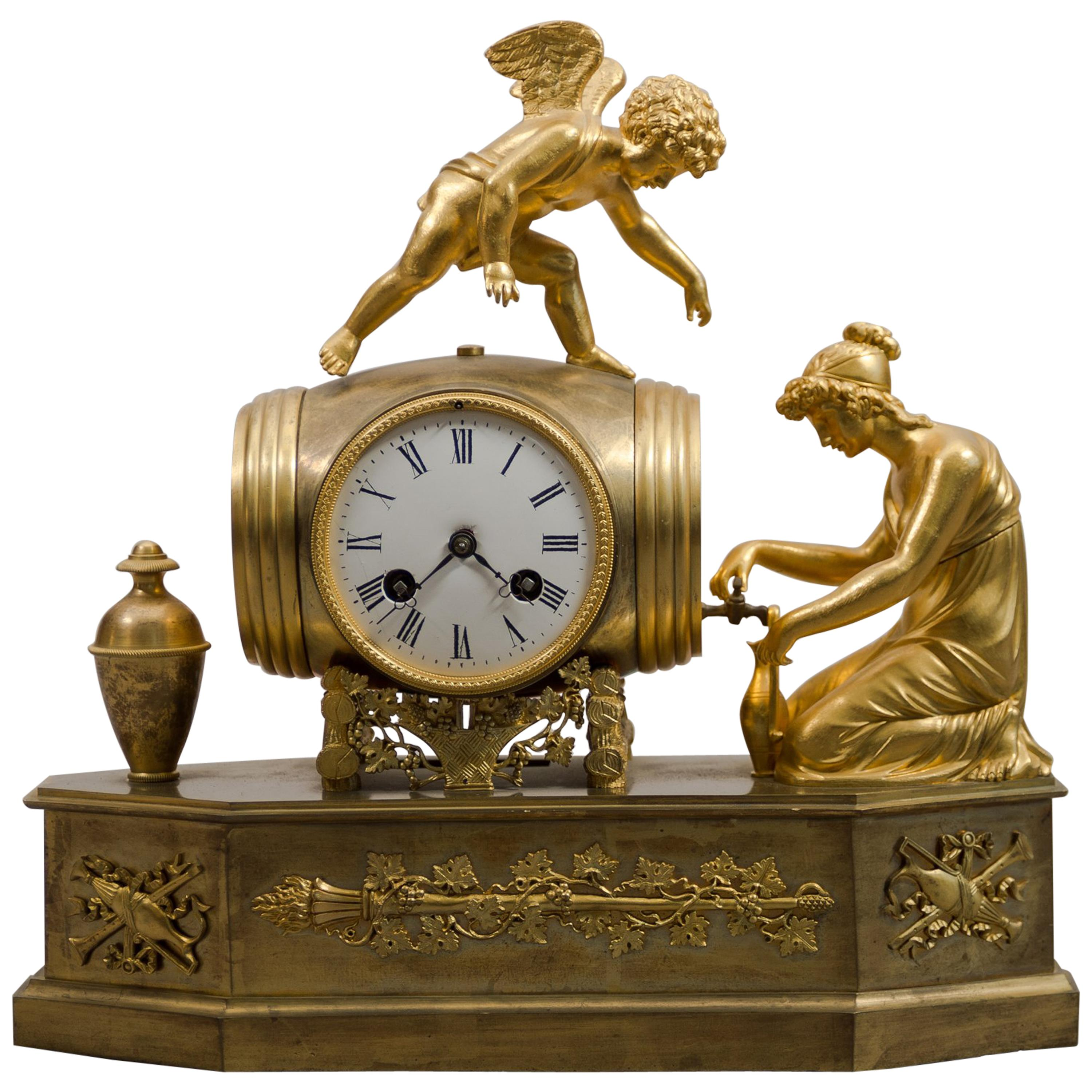 """Early 19th Century French Empire Ormolu Mantel Clock """"Pouring Wine"""""""