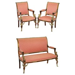 19th Century French Empire Ormolu Sphinx Egyptian Mahogany Suite Sofa Armchairs