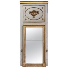 19th Century French Empire Painted and Gilt Carved Wall Trumeau Mirror
