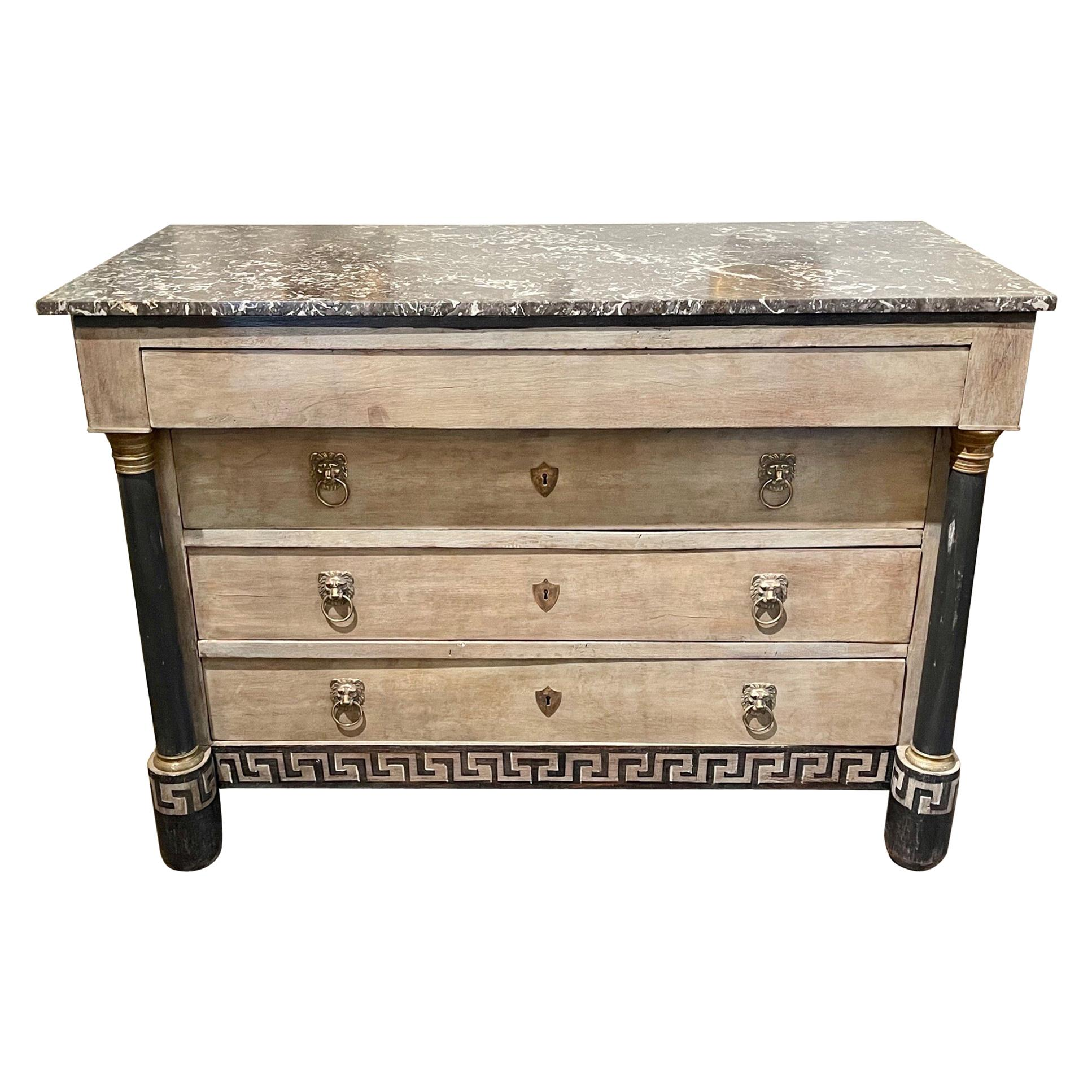 19th Century French Empire Painted Commode with Greek Key Pattern