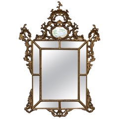 19th Century French Empire Period Carved Giltwood Rectangular Mirror with Crest
