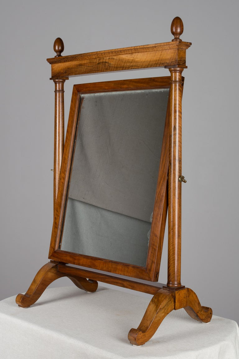 Hand-Crafted 19th Century French Empire Period Cheval Mirror For Sale