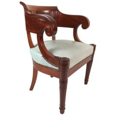 19th Century French Empire Period Mahogany Armchair with Celadon Leather Seat
