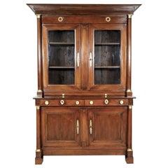 19th Century French Empire Period Walnut Bibliotheque or Bookcase