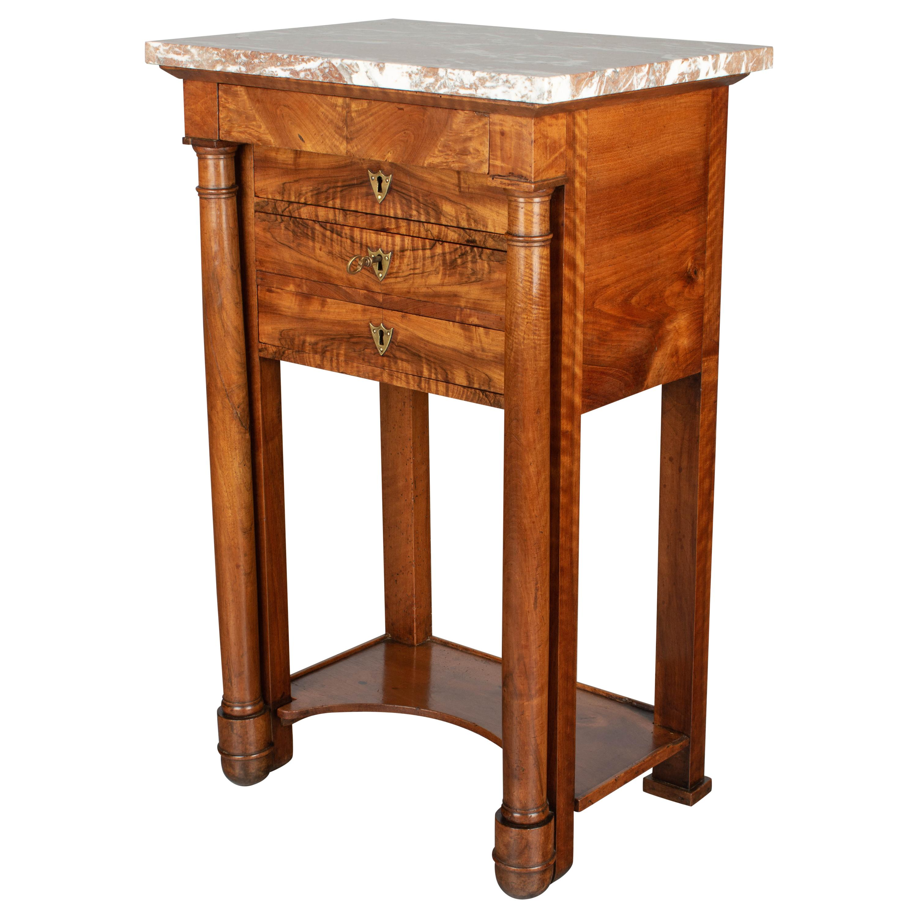 19th Century French Empire Period Walnut Side Table