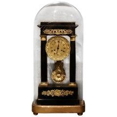 19th Century French Empire Portico Mantel Clock in Original Glass Dome