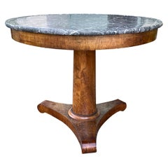 19th Century French Empire Round Marble-Top Center Table