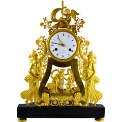 19th Century French Empire Skeleton Clock with Vestal Virgins
