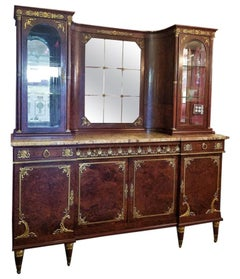 19th Century French Empire Style Credenza and Vitrine by AME Fournier