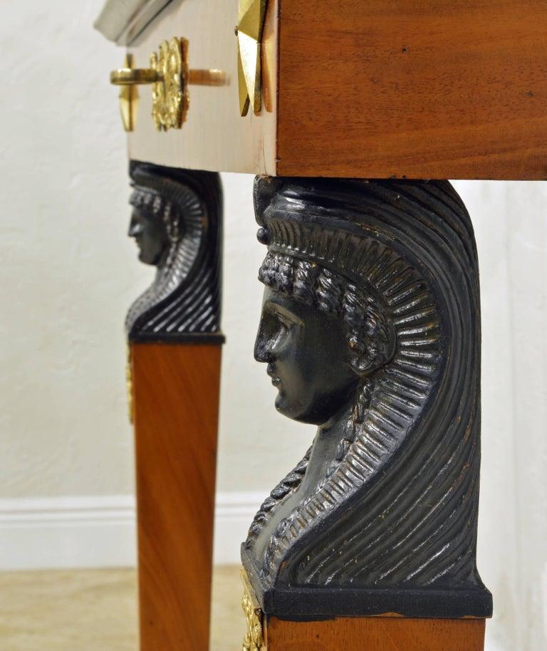 19th Century French Empire Style Egyptian Themed Mahogany Vitrine Console Table 5
