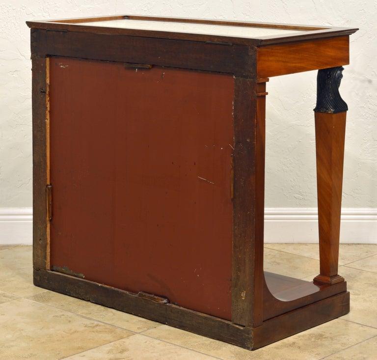 Gilt 19th Century French Empire Style Egyptian Themed Mahogany Vitrine Console Table