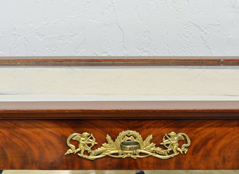 19th Century French Empire Style Egyptian Themed Mahogany Vitrine Console Table In Good Condition In Ft. Lauderdale, FL