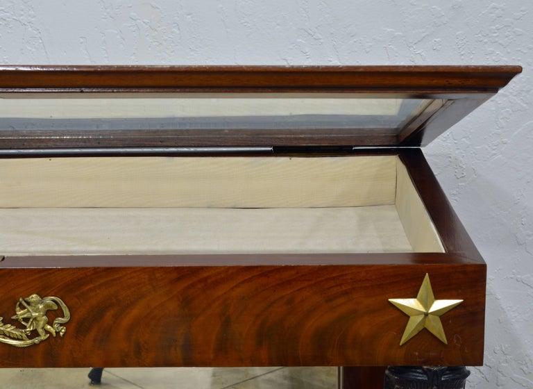 19th Century French Empire Style Egyptian Themed Mahogany Vitrine Console Table 1