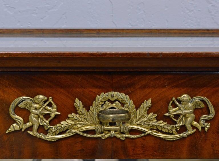 19th Century French Empire Style Egyptian Themed Mahogany Vitrine Console Table 2
