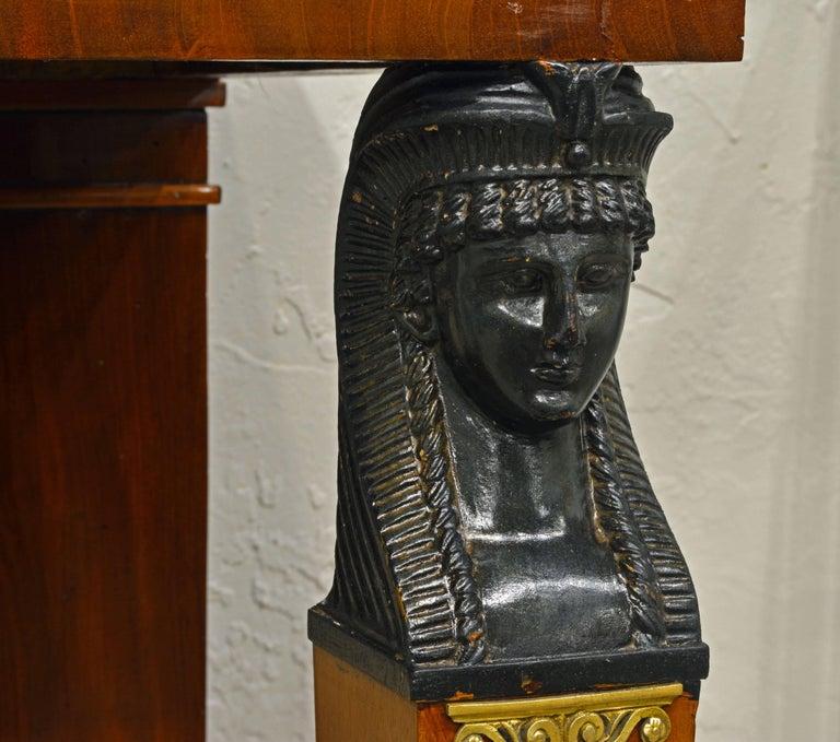 19th Century French Empire Style Egyptian Themed Mahogany Vitrine Console Table 3