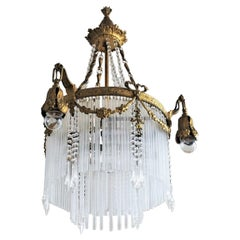 19th Century French Empire Style Gilt Bronze Doré Rod Four-Light Chandelier