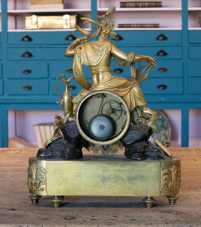 19th Century French Empire Style Gilt Bronze Mantle Clock 1