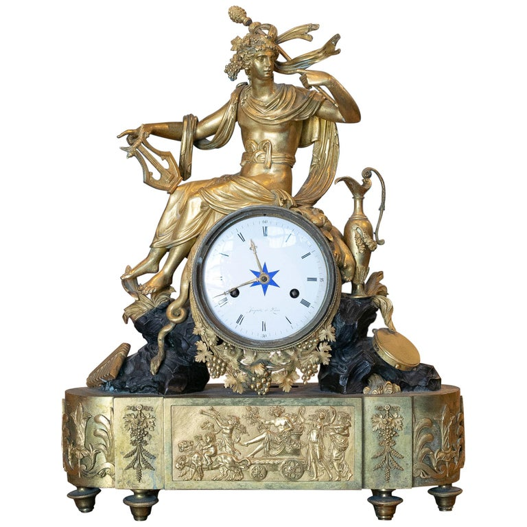 19th Century French Empire Style Gilt Bronze Mantle Clock