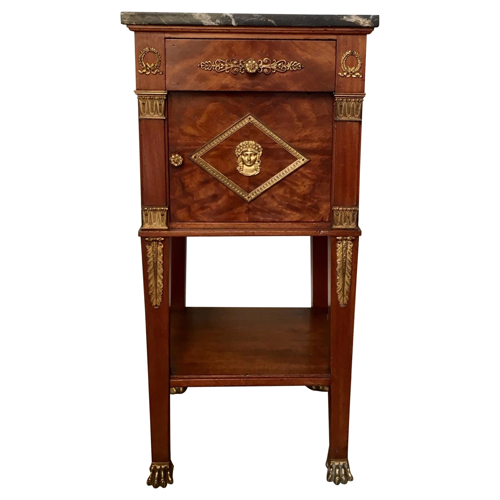 19th Century French Empire Style Mahogany Nightstand Side Table