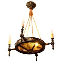 19th Century French Empire Style Painted and Giltwood Chandelier
