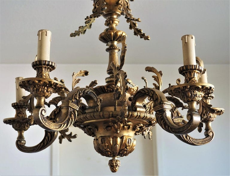 19th Century French Louis XVI Style Gilt Bronze Five-Arm Chandelier For Sale 2