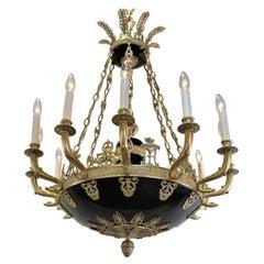 19th Century French Empire Twelve Light Bronze Chandelier