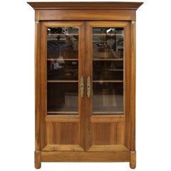 19th Century French Empire Two-Door Walnut Library Armoire or Linen Press