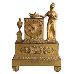 19th Century French Empire Vestal Clock