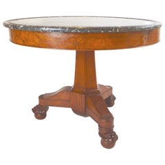 19th Century French Empire Walnut Center Table with Marble Top