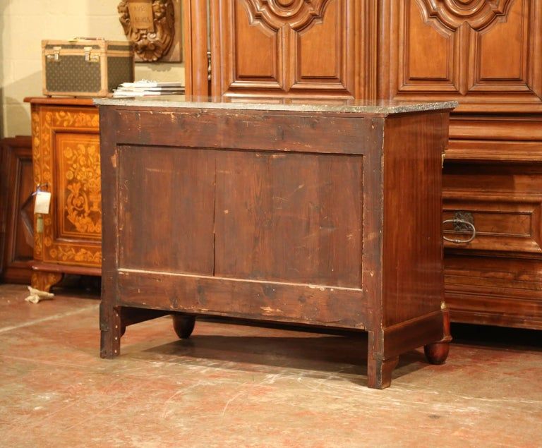 19th Century French Empire Walnut Four-Drawer Commode with Black Marble Top For Sale 5