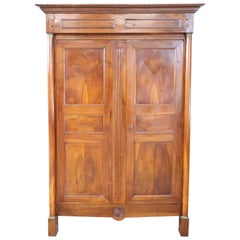 19th Century French Empire Walnut Wardrobe or Armoire