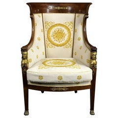 19th Century, French Empire Wood Armchair