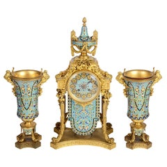 19th Century French Enamel Clock Set