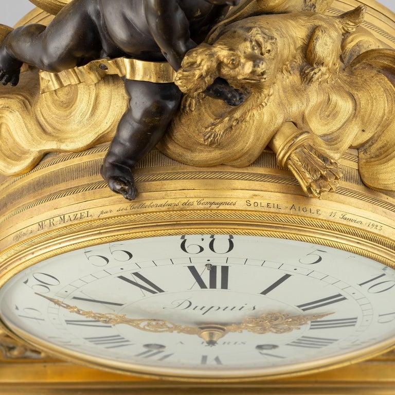 Escalier de Cristal Gilt Bronze and Carrara Marble Clock, France, 19th Century For Sale 5
