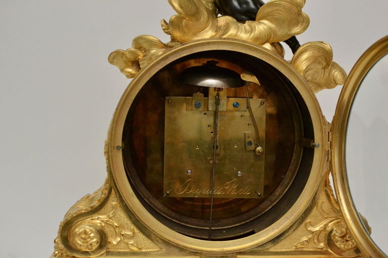 Escalier de Cristal Gilt Bronze and Carrara Marble Clock, France, 19th Century For Sale 7