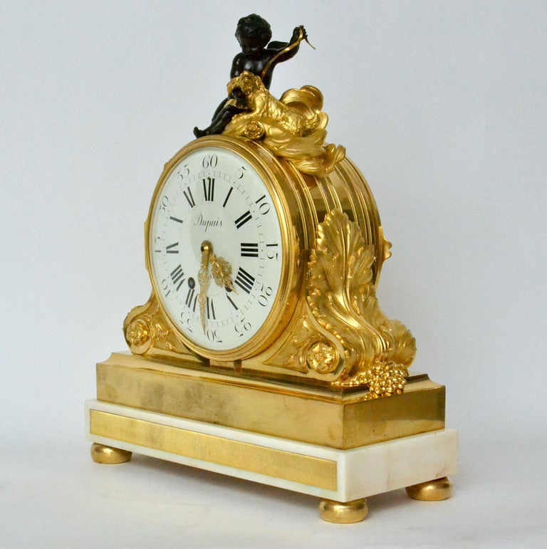 Louis XVI Escalier de Cristal Gilt Bronze and Carrara Marble Clock, France, 19th Century For Sale