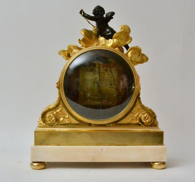 French Escalier de Cristal Gilt Bronze and Carrara Marble Clock, France, 19th Century For Sale