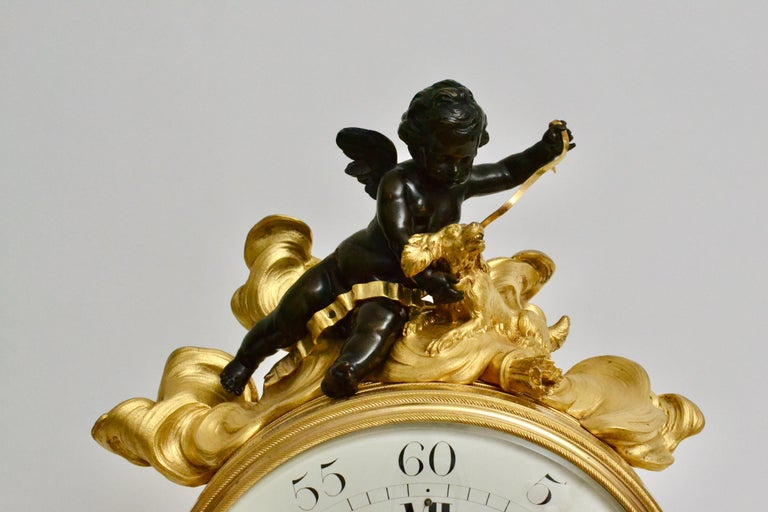 Escalier de Cristal Gilt Bronze and Carrara Marble Clock, France, 19th Century For Sale 1