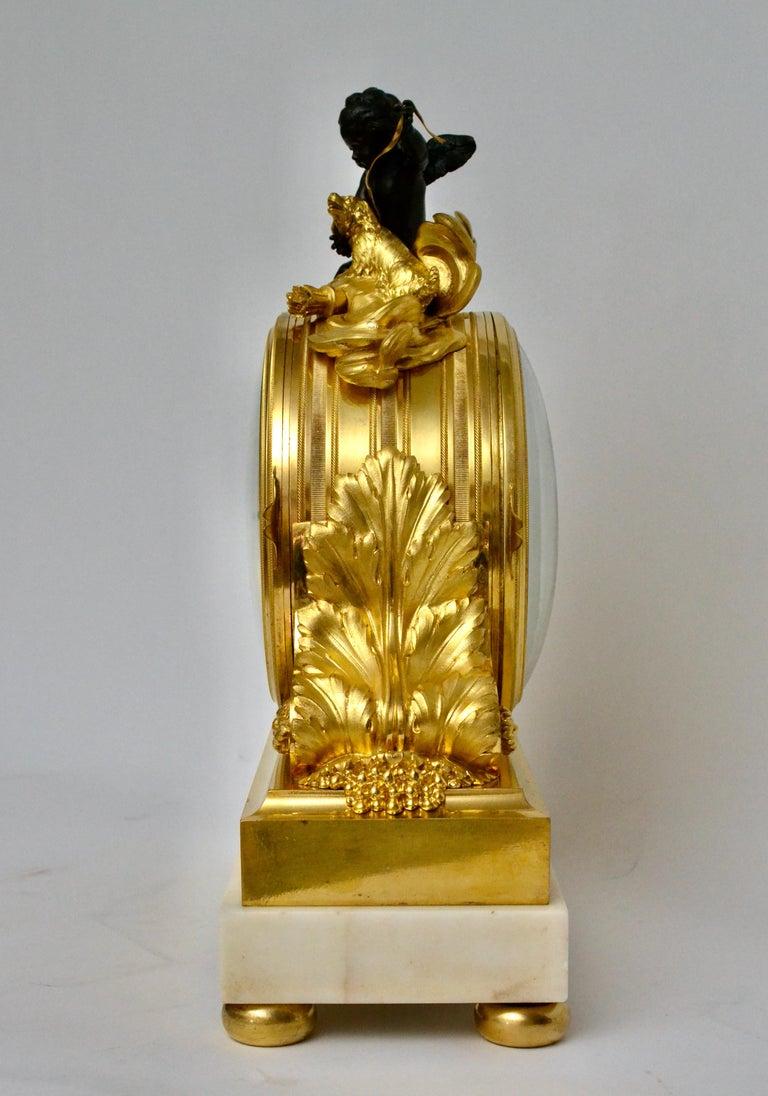 Escalier de Cristal Gilt Bronze and Carrara Marble Clock, France, 19th Century For Sale 3