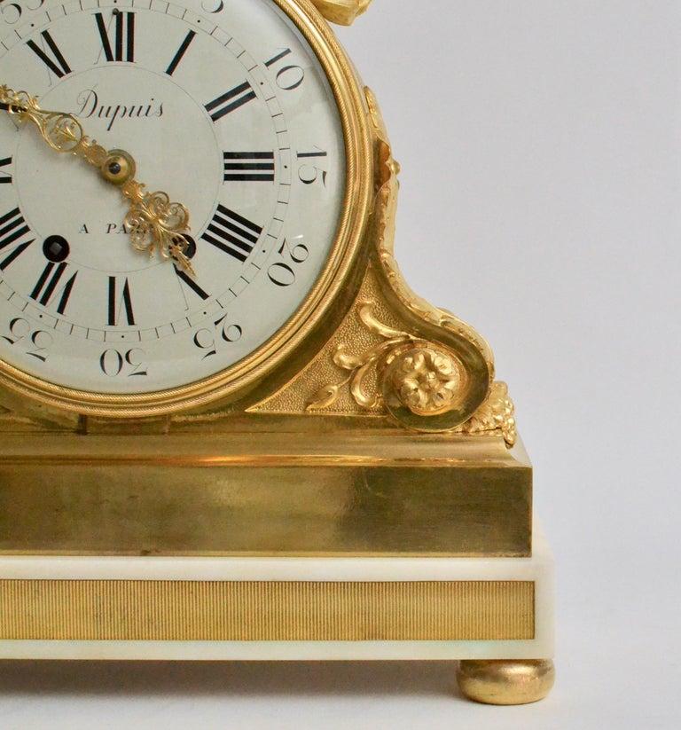 Escalier de Cristal Gilt Bronze and Carrara Marble Clock, France, 19th Century For Sale 4