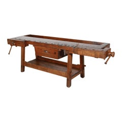 19th Century French Etabli or Carpenter's Workbench with Two Vises