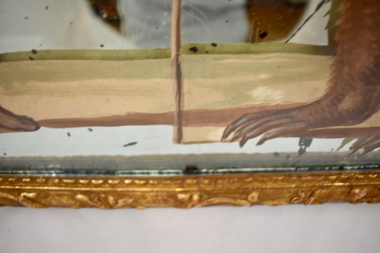 19th Century French Exotic Rococo Mirror Hand Painted Decoupage Boy with Bear For Sale 5