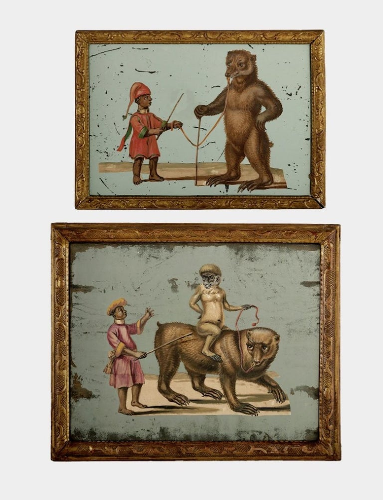 19th Century French Exotic Rococo Mirror Hand Painted Decoupage Boy with Bear For Sale 9