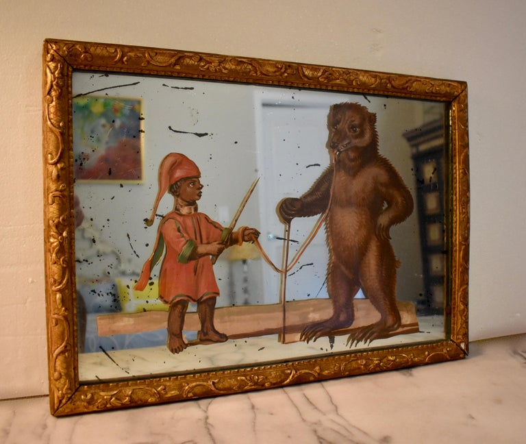 Belle Époque 19th Century French Exotic Rococo Mirror Hand Painted Decoupage Boy with Bear For Sale